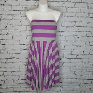 Strapless Striped Fit & Flare dress